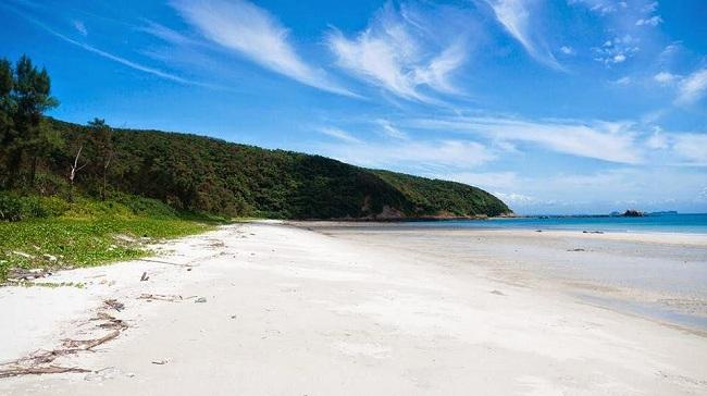 Biển xanh, mây trắng , sóng vỗ nhẹ nhàng là khung cảnh tuyệt vời bạn tìm thấy ở bãi biển Hồng Vàn Cô Tô này
